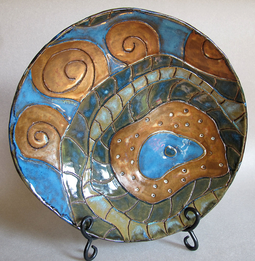 BLUE AND RED GOLD SPIRALS