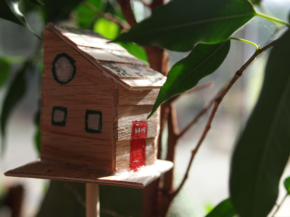 mini treehouse closeup for plants