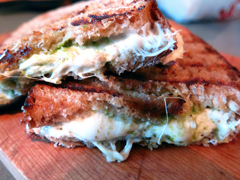 garlic scape grilled cheese