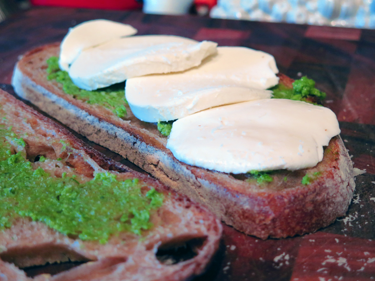 garlic scape grilled cheese mozzarella