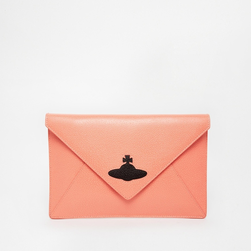 Vivienne Westwood Leather Clutch Bag in Coral- $195 via ASOS .jpg