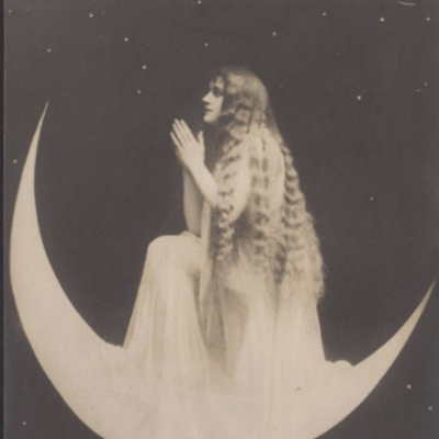 image: Moon Priestess at Prayer. Surrealistic French Postcard by Arjalew, circa 1900