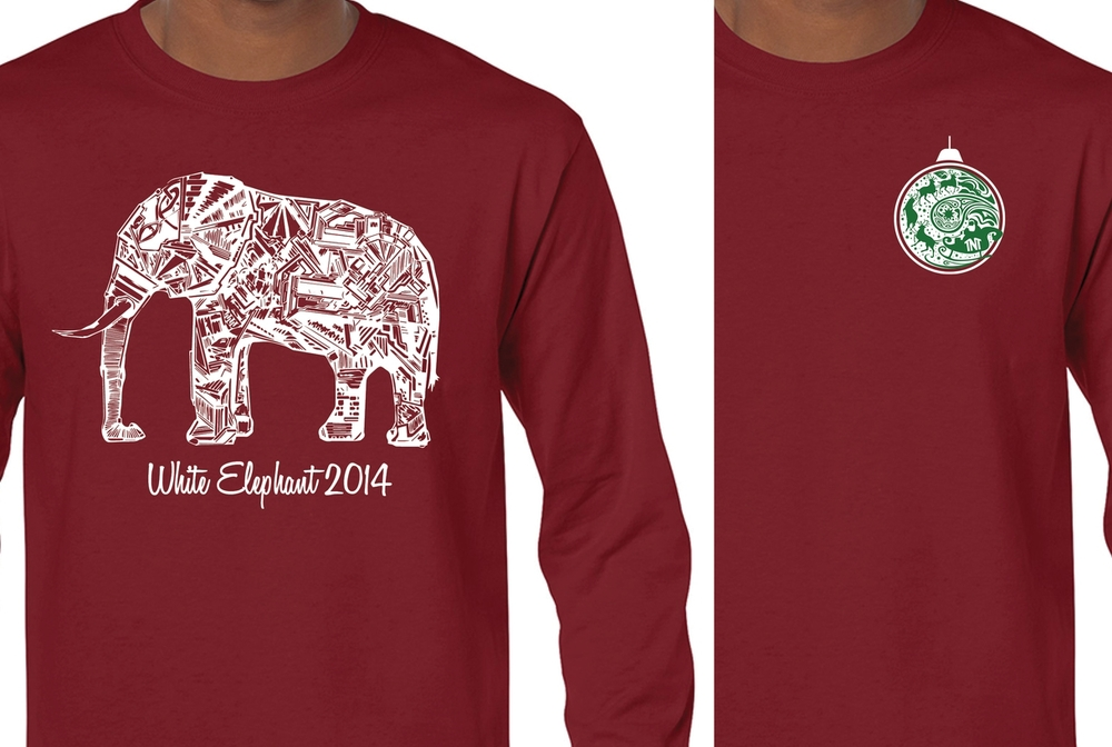 A t-shirt design for the White Elephant Function.