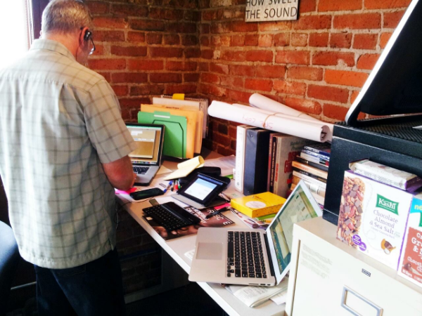 Standing desk at the shepherd's House