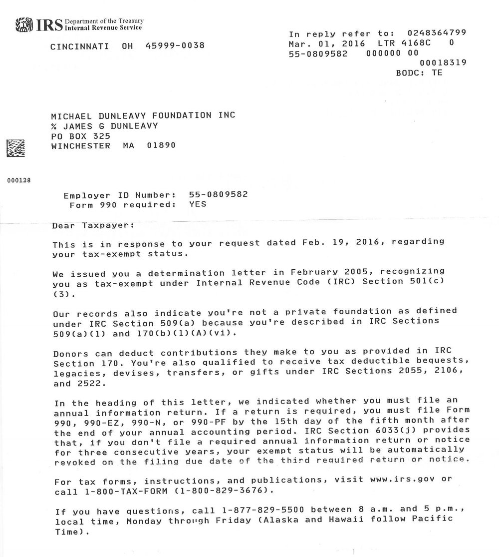 501c Accreditation Letter (click to enlarge)