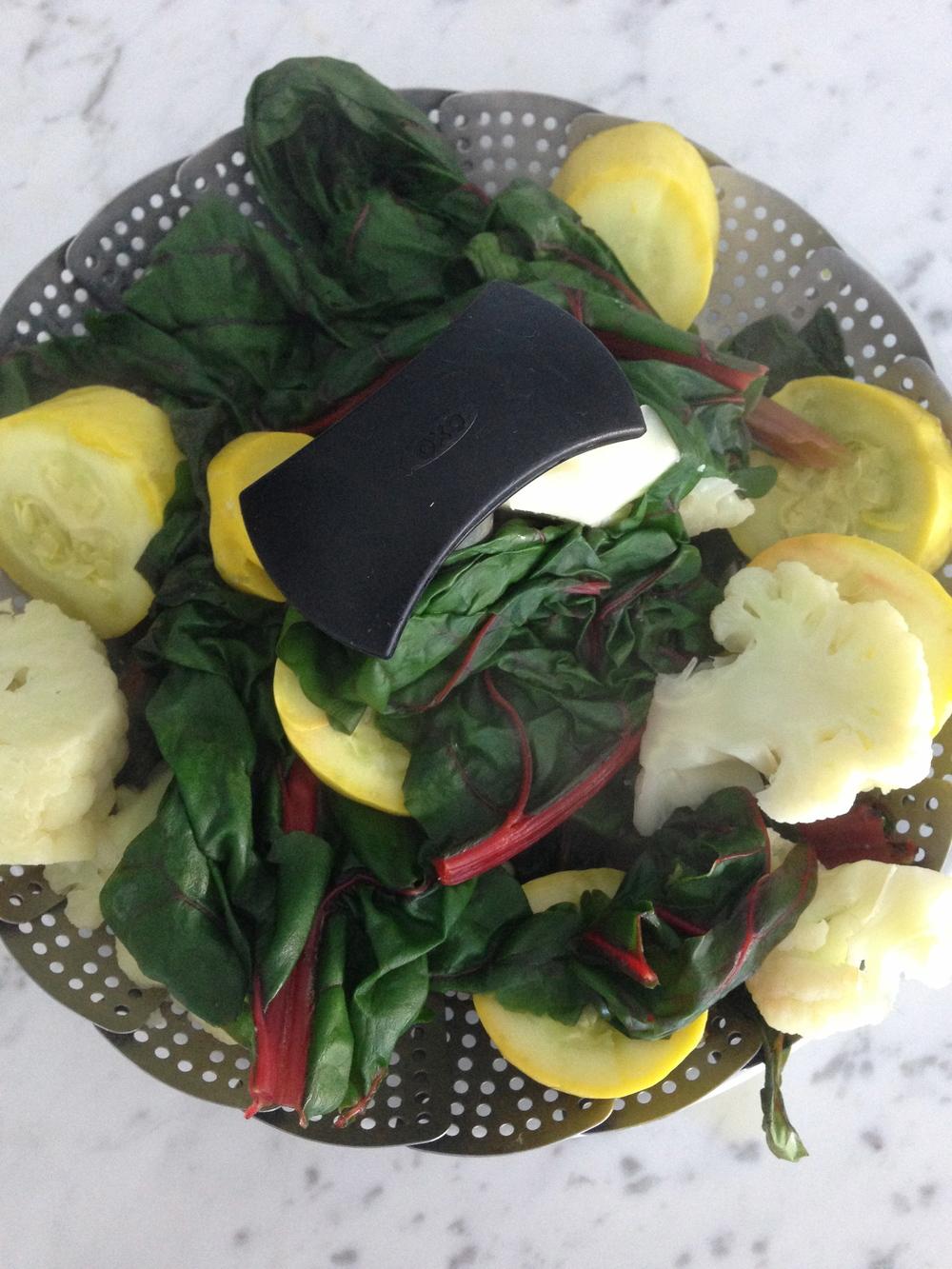 Steamed chard, cauliflower, and squash.