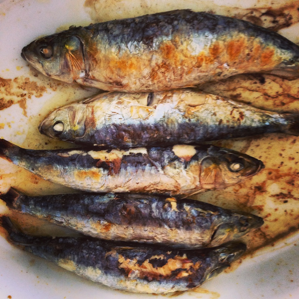 Roasted fresh sardines. Sardines are great because they're low in mercury and packed with essential fish oils.