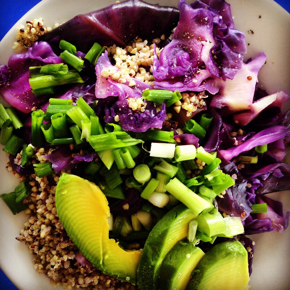 Kasha, steamed red cabbage, chopped scallions, and ripened Florida avocado.