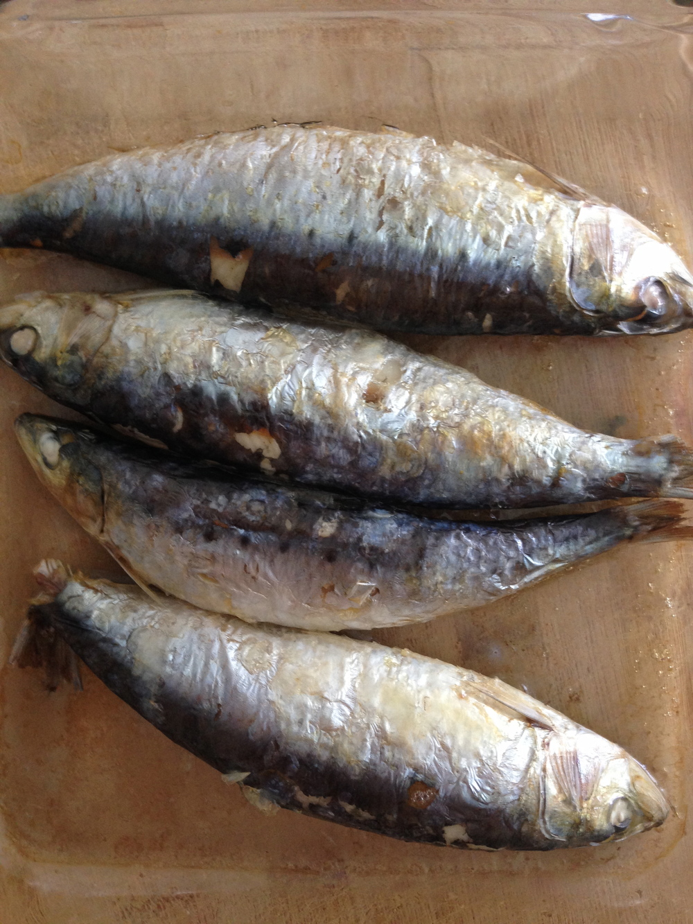 We both love sardines and we buy them fresh whenever we can.  Throw them in the oven for a quick roast and you won't need to take any fish oil tablets -- the sardines will be oozing with omega-3's.