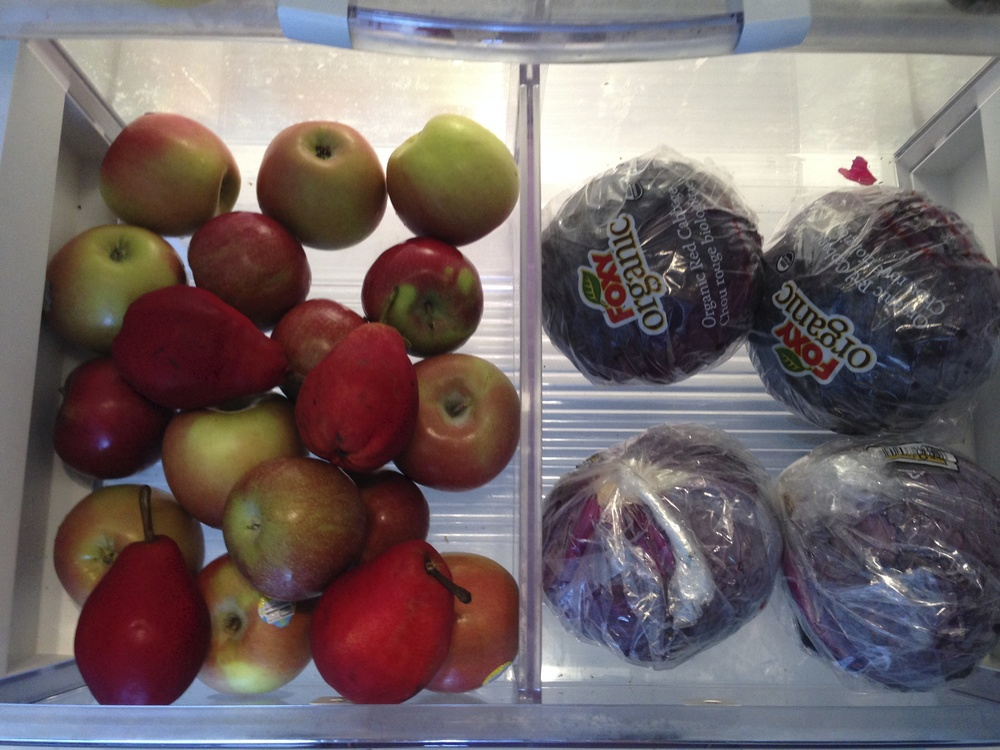Red cabbage, pears, and apples. Red cabbage stays for up to two weeks when refrigerated.