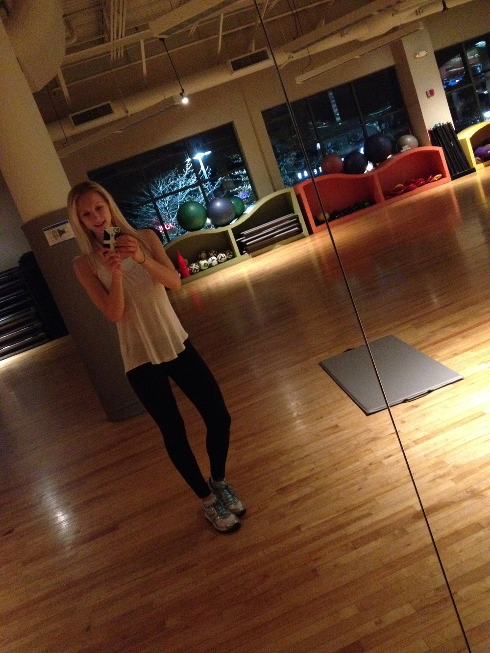The aerobic studio is one of Lyuda's favorite destinations.