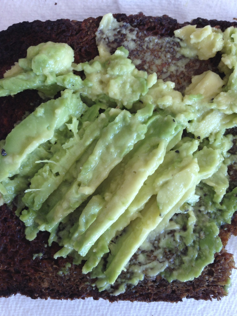 Mestemacher bread with avocado is a great option to eat at the office.  Keep the bread at your desk (it won't go bad) and bring in some avocados at the beginning of each week.