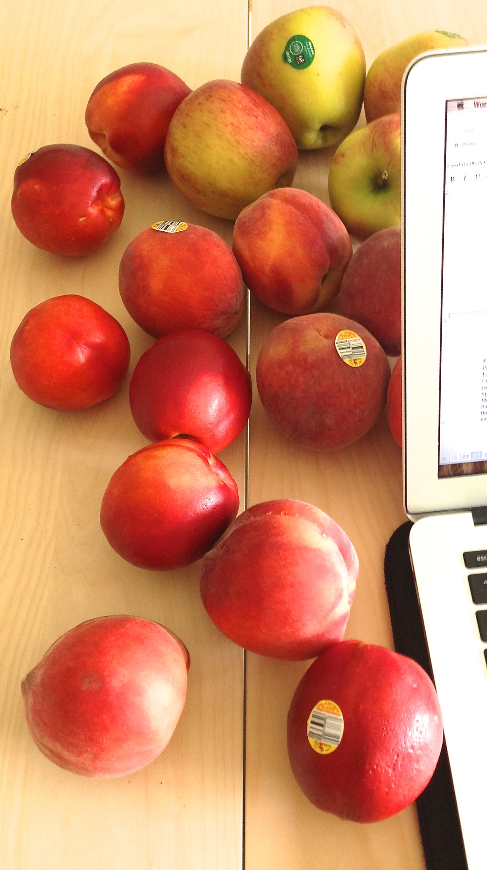 It's wise to keep a hearty supply of fresh fruit at your desk.  When the boss catches you off guard with an involved assignment, you'll be able to push through it without having to resort to the vending machine.