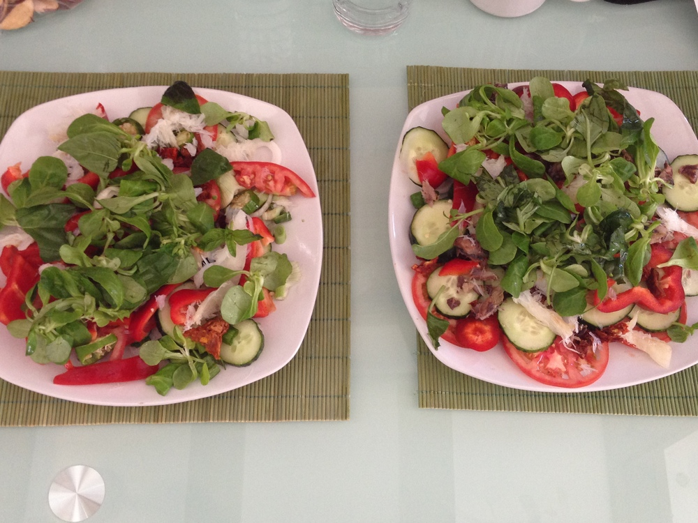 Fresh salads prepared from Central Market fare.