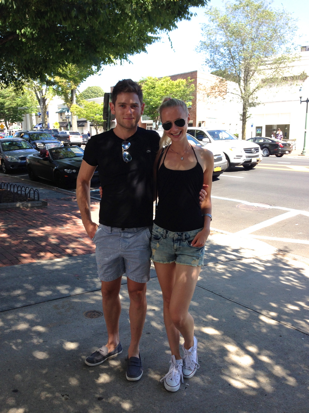 The Couple enjoying a leisurely stroll on Main Street in East Hampton. They were having a lovely time before they stopped in at some of the local fitness destinations, which presented a form of workout AFC had never before encountered.