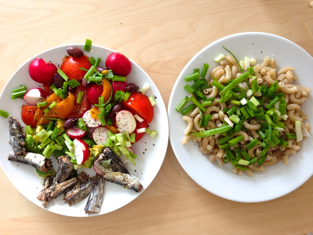 Pursue a sustainable approach.  A salad of anchovies, radishes, tomato, avocado, roasted peppers, olives, and scallions -- with olive oil and crushed black pepper.  A plate of brown rice pasta with olive oil, pepper, sea salt, and chopped scallions.