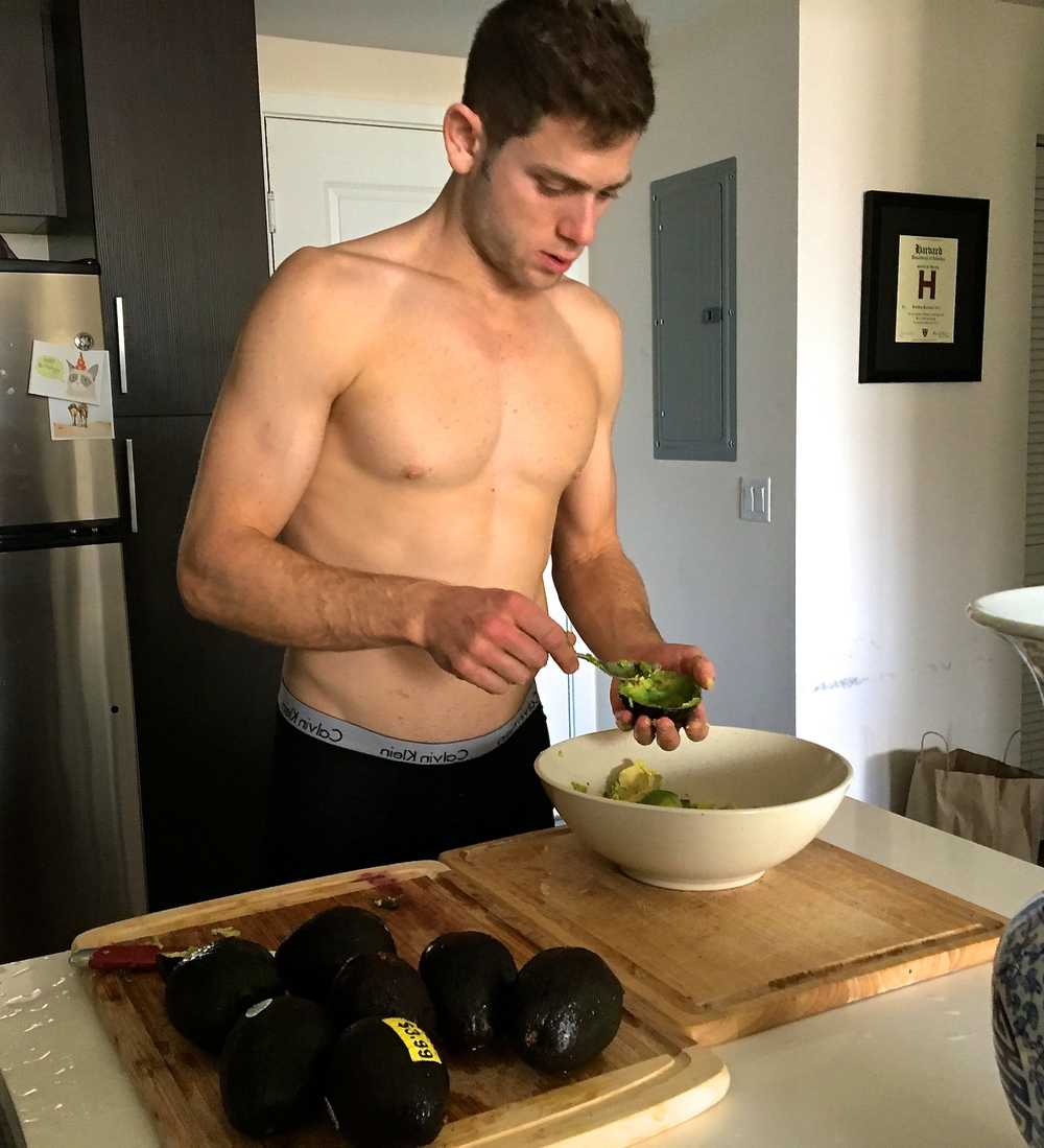 Jon Pearlman often manages the avocados in his underwear, preparing a double batch of guacamole with chopped red onion, tomato, lemon juice, cilantro, paprika, cayenne, sea salt, and fresh black pepper.  When Lyuda isn't writing a blog post, she's there to photograph him.