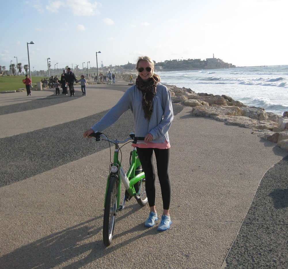During my trip to Israel, I biked on the Tel Aviv coastline to get in my cardio.