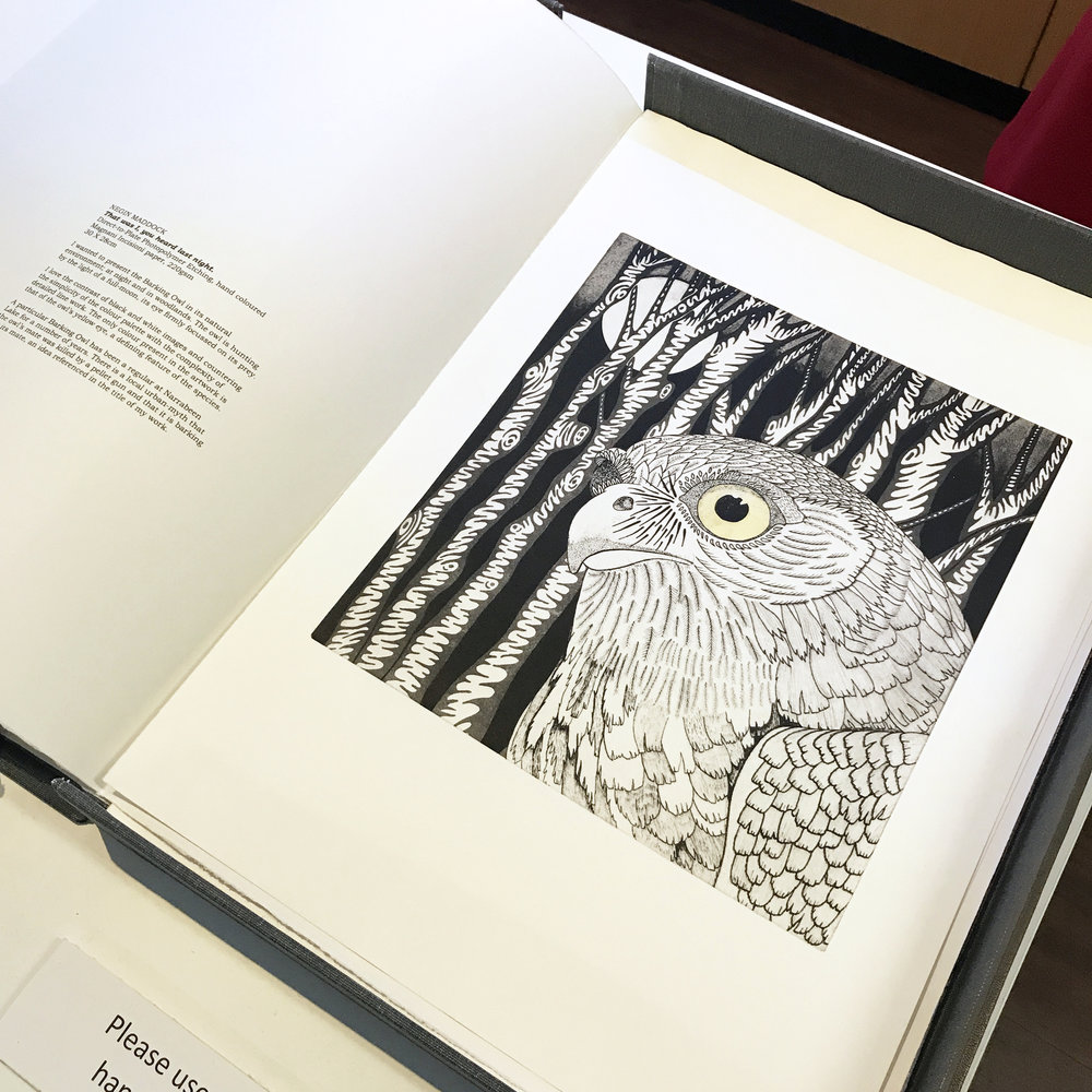 Printmaking Owl Australian