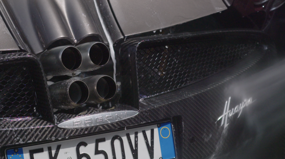 Pagani Huayra being cleaned. Screen capture from APEX: The Story of the Hypercar