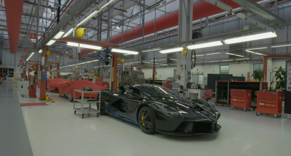 Ferrari LaFerrari production line.  Screen capture from APEX: The Story of the Hypercar