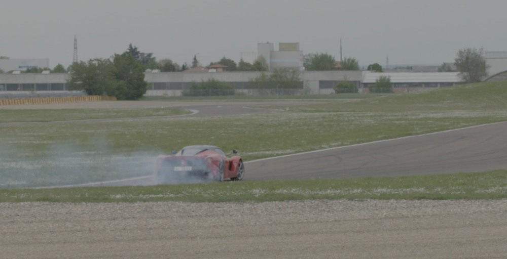 Ferrari LaFerrari drift on the Fiorano Circuit, Italy. Screen capture from APEX: The Story of the Hypercar