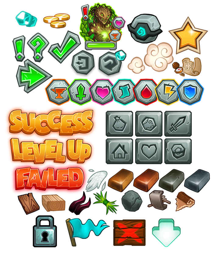 """Various HUD and GUI elements for """"Dungeon Slammers"""" mobile game (c) Uncanny Works"""