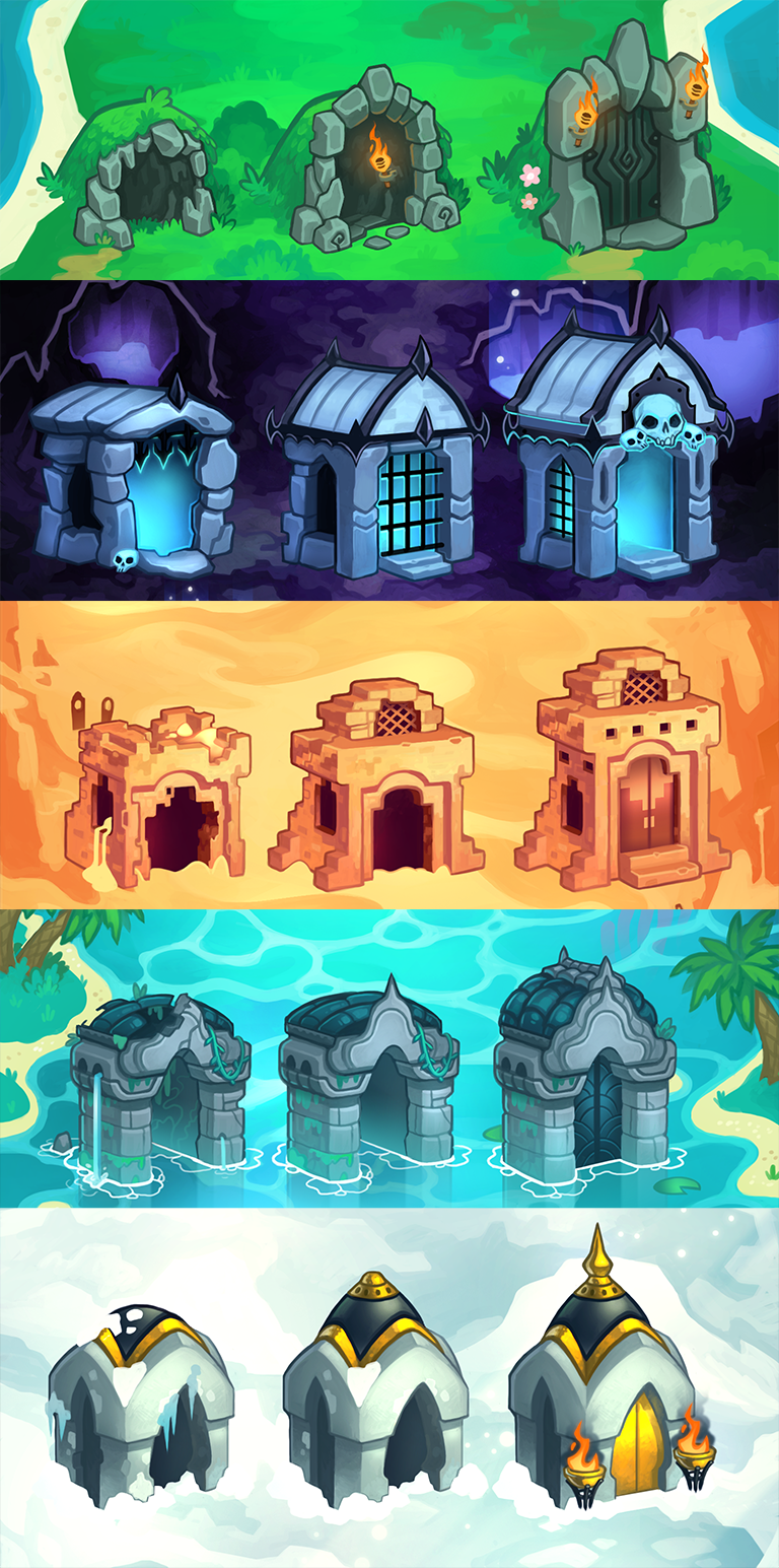 """Dungeon entrance nodes in ranked by difficulty, for """"Dungeon Slammers"""" mobile game (c) Uncanny Works"""