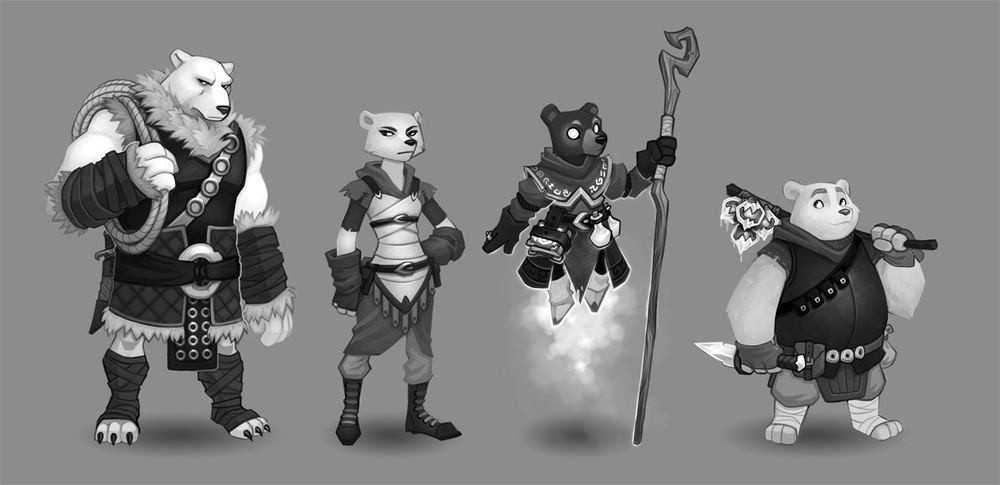 Character designs for an untitled project (c) SkyVu Entertainment