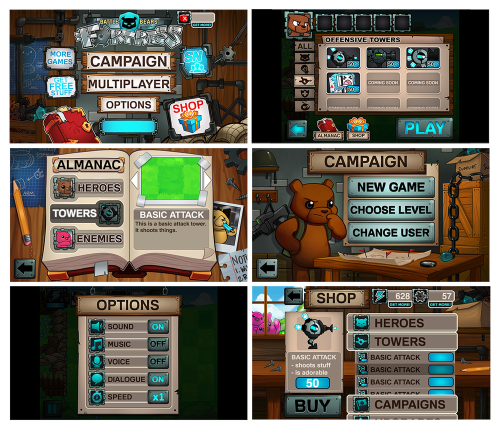 """UI and menus for """"Battle Bears Fortress"""" mobile game (c) SkyVu Entertainment"""
