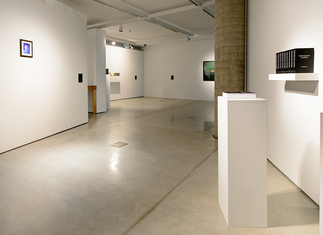 Trace Recordings  installation view, with artworks by  Shinseungback Kimyonghun (front left) and James Bridle (front right). Courtesy the artists and UTS Gallery. Photo David Lawrey