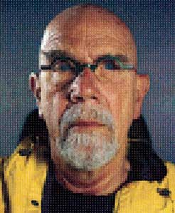 Chuck Close, Self-Portrait (Yellow Raincoat), 2013. Image courtesy Pace Gallery © Chuck Close in association with Magnolia Editions, Oakland