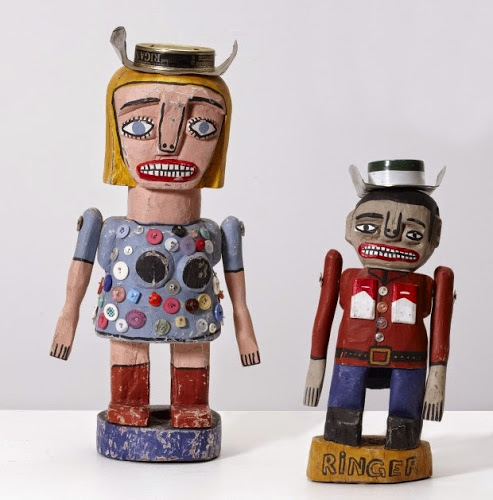 Frank Gohier, Cowgirl and Ringer, 2004. Synthetic polymer paint, tuna cans, nails and buttons on Ironwood and Stringybark. Artbank collection, purchased 2005. Image courtesy and © the artist