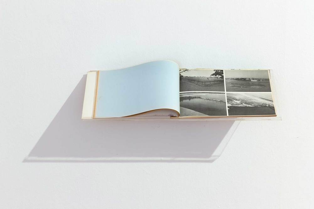Tim Burns ,  Enclosures  from  Assembly Book , 1974. Book of printed postcards. Image courtesy Gertrude Contemporary © the artist. Private Collection, Sydney. Photo: Alex Davies.
