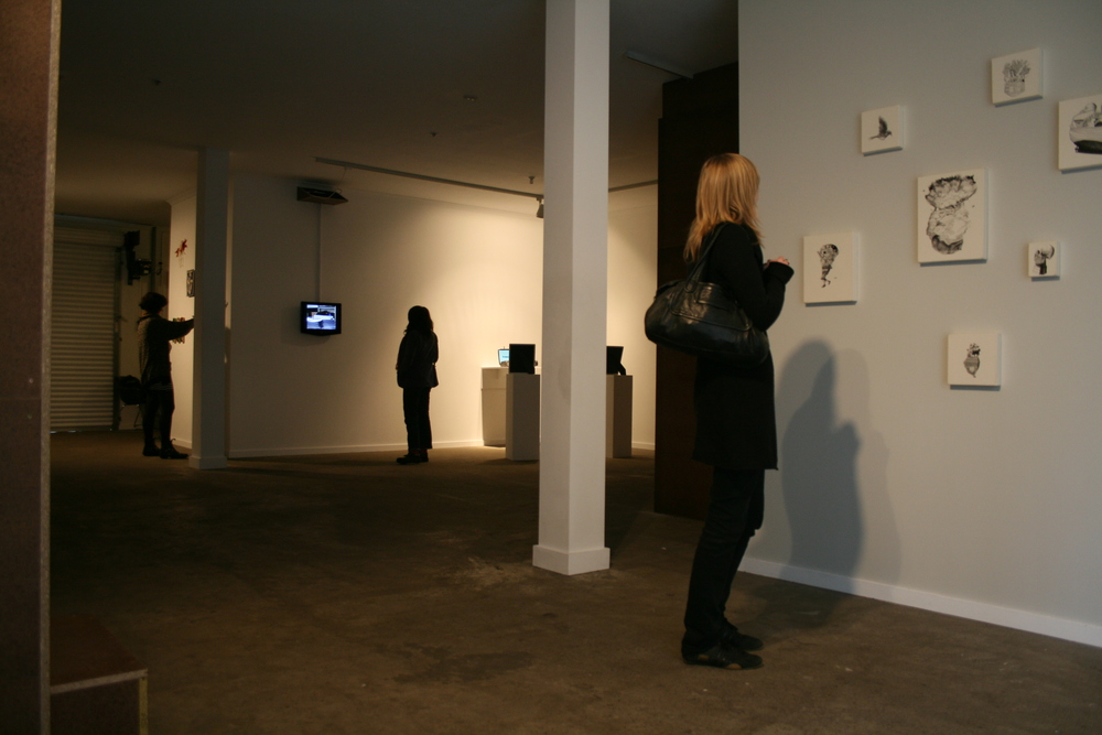 The Shadow Theatre  installation view with works by Nicholas Hobbs (right foreground). Courtesy the artist.