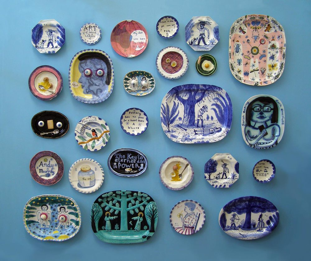 Stephen Bird ,  Wall of plates , 2015, ceramics, dimensions variable. Image courtesy and © the artist