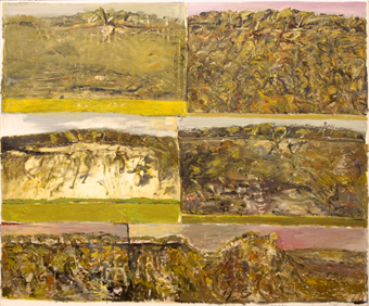 John R Walker, Six Days at Bundanon and I Give Thanks to Boyd, 2001, oil on canvas, 183 x 221 cm. Image courtesy Utopia Art Sydney © the artist.
