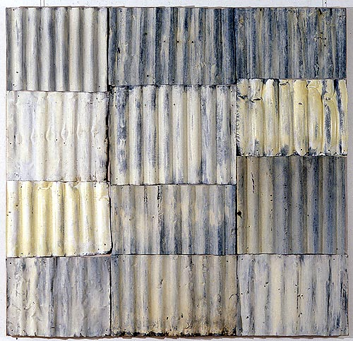 Rosalie Gascoigne, White Garden, 1995, painted corrugated iron panels on wood, 184 × 177 cm. Private Collection, Sydney