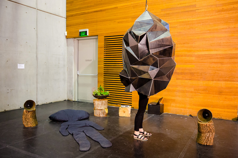 Vicky Browne, Simon Reece, Darren Seltmann  Conversations with Plants  2015, Spanish earthenware clay, cardboard, electronics, wood and plants, interactive installation. Courtesy the artists. Vicky Browne courtesty of Galerie Pompom, Sydney