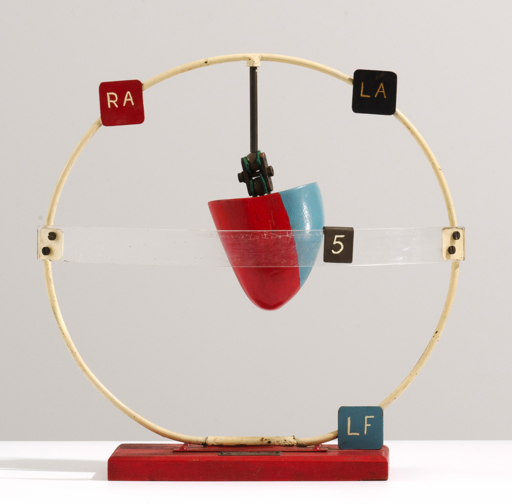 Model of the Heart, where the angle is adjustable wood, plastic, enamel, metal,36 x 35 x 15 cm Department of Physiology, The University of Sydney.Photo: Jack Dunbar