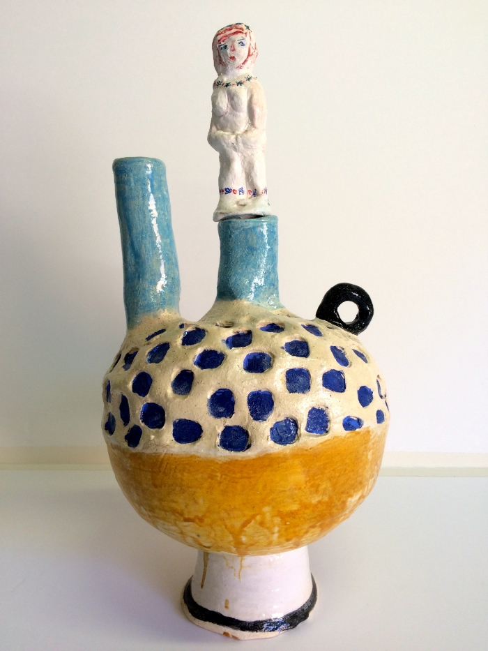 Angela Brennan , 'Pot with Stopper', 2015, earthenware, 60 x 35 cm approx. Image courtesy the artist, Niagara Galleries, Melbourne and Roslyn Oxley9, Sydney  © the artist