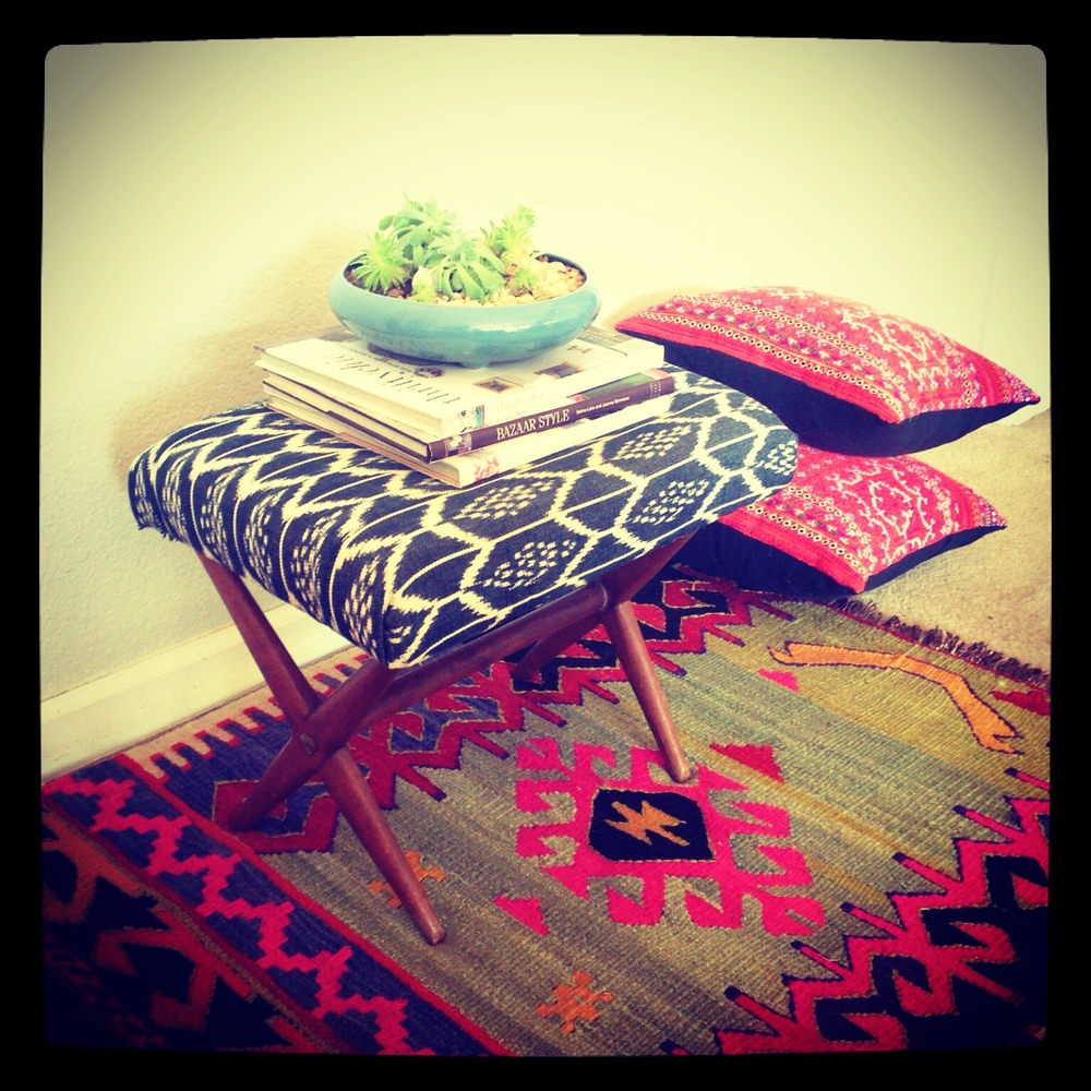 Footstool covered with a new Guatemalan