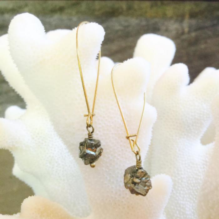 Pyrite chunk earrings
