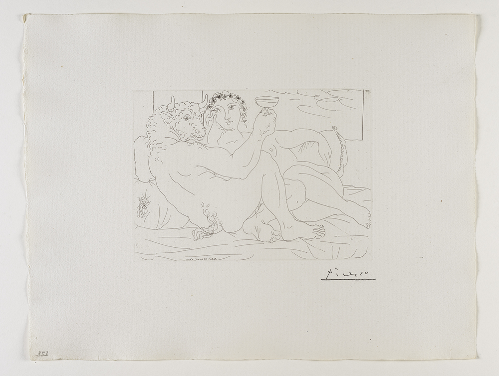 Le Repos du Minotaure : Champagne et Amante    恬靜的   ⽶米諾陶洛斯:⾹香檳與愛⼈人   Etching, 1933  / Bloch 190; Baer 349 only state, B.c (of B.d.); S.V. 83; HP 353  Image Size : 19.8 x 27.0 cm (7.8 x 10.63 in)  Sheet Size : 38.5 x 49.9 cm (15.16 x 19.65 in)