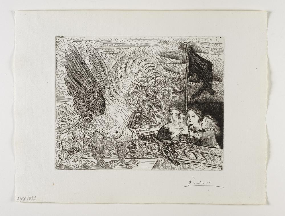 Harpye à tête de Taureau, et quatre petites Filles sur uneTour surmontée d'un Drapeau noir    ⾧長著⽜牛頭的⿃鳥⾝身⼥女妖,與四名年輕⼥女⼦子在插上⿊黑⾊色旗幟的  塔上   Etching, 1931 / Bloch 229; Baer 444 only state, B.d (of B.d.); S.V. 13; HP 377  Image Size : 23.6 x 29.8 cm (9.29 x 11.73 in)  Sheet Size : 33.7 x 44.3 cm (13.27 x 17.44 in)