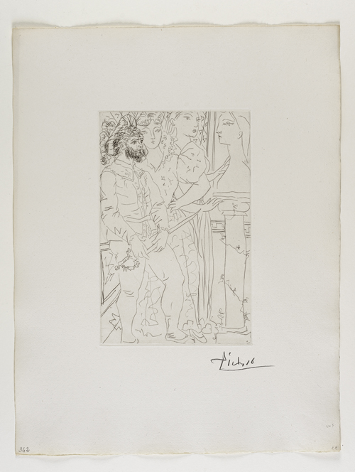 Trois Comédiens avec Buste de Marie-Thérèse    三名演員及   Marie-Therese   半⾝身像   Drypoint, 1933  Bloch 145; Baer 296 second state of two, II.B.c (of II.B.d); S.V. 77; HP 342  Image Size : 27.8 x 18.4 cm (10.94 x 7.24 in)   /   Sheet Size : 50.1 x 38.5 cm (19.72 x 15.16 in)