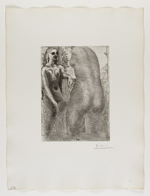 Marie-Thérèse regardant son Corps sculpté    Marie-Therese   凝望⾃自⼰己的胴體雕塑   Etching, 1933  Bloch 186; Baer 345 fourth state of four, IV.B.c (of IV.B.d.); S.V.73; HP 334  Image Size : 26.7 x 19.3 cm (10.51 x 7.6 in)   /   Sheet Size : 50.4 x 38.3 cm (19.84 x 15.08 in)