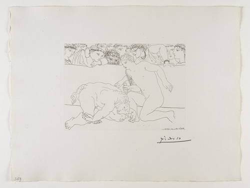 Dans l'arène, jeune Homme achevant le Minotaure    年輕⼈人在⾾鬥⽜牛場內殺死 ⽶米諾陶洛斯   Etching, 1933  / Bloch 197; Baer 365 only state, B.c (of B.d.); S.V. 89; HP 359  Image Size : 19.4 x 26.9 cm (7.64 x 10.59 in)  Sheet Size : 38.4 x 50.3 cm (15.12 x 19.8 in)