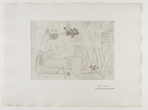 Sculpteur avec un Groupe sculpté (Hommage à Carpeaux)    雕塑家與⼀一群塑像(向卡爾波致敬   Etching, 1934  /  Bloch 217; Baer 421 only state, B.c (of B.d.); S.V. 81; HP 346  Image Size : 22.3 x 31.2 cm (8.78 x 12.28 in)  Sheet Size : 38.6 x 50.3 cm (15.2 x 19.8 in)