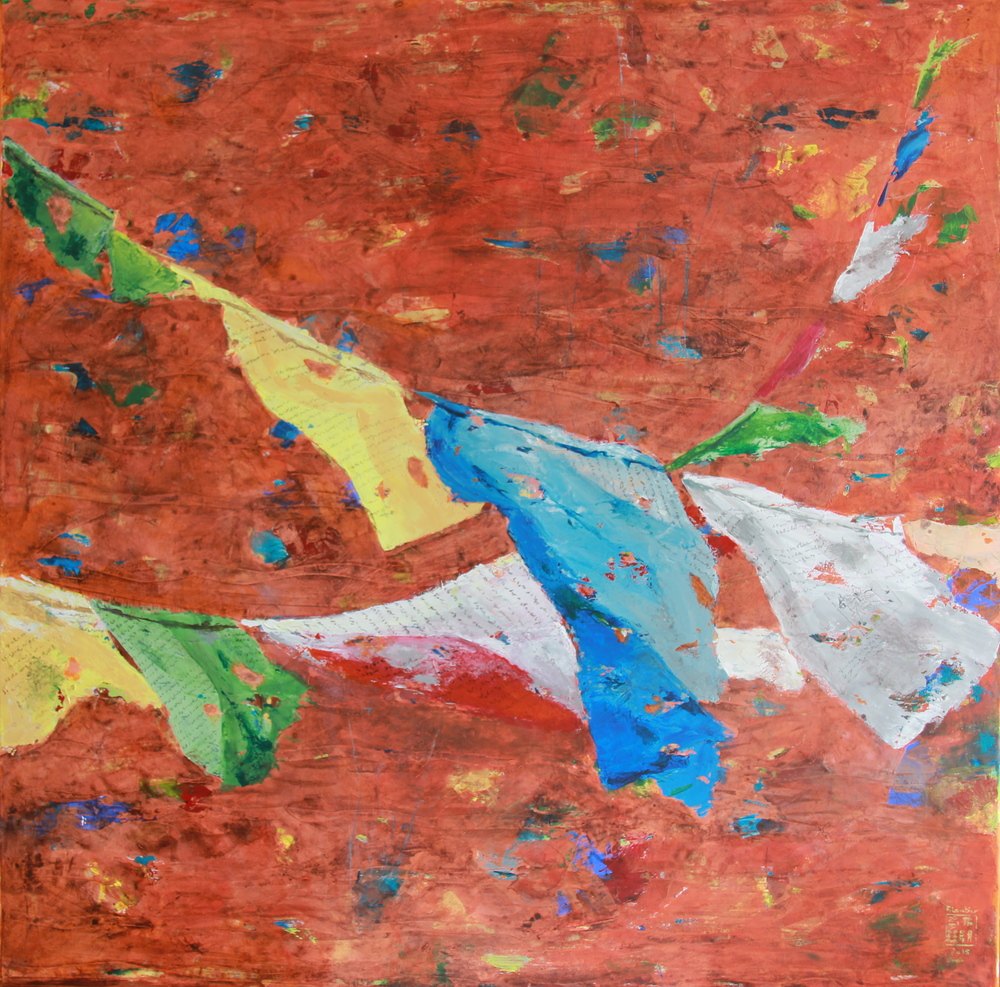 Floating Flags 1  飄揚的旗幟 1        100cmX100cm Acrylic, golden leaves on mixed media  HKD 46 000
